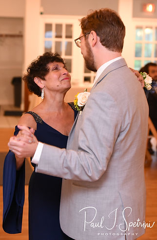 Justin and his mother dance during his June 2018 wedding reception at North Beach Clubhouse in Narragansett, Rhode Island.
