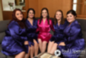 Alyssa and her bridesmaids pose for a photo prior to her August 2016 wedding ceremony at Holy Name Church in Fall River, Massachusetts.