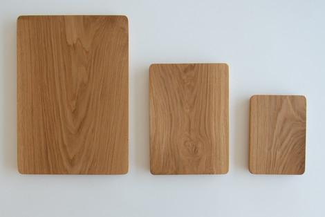 Oak boards in three sizes