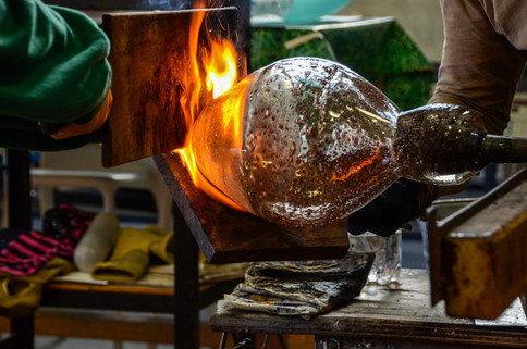 Wood boards are essential tools for glassblowing
