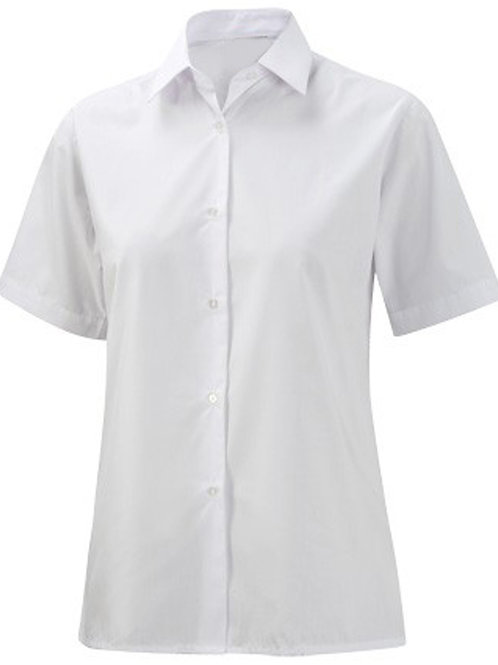 2PK SHORT SLEEVE REVERE WHITE BLOUSE