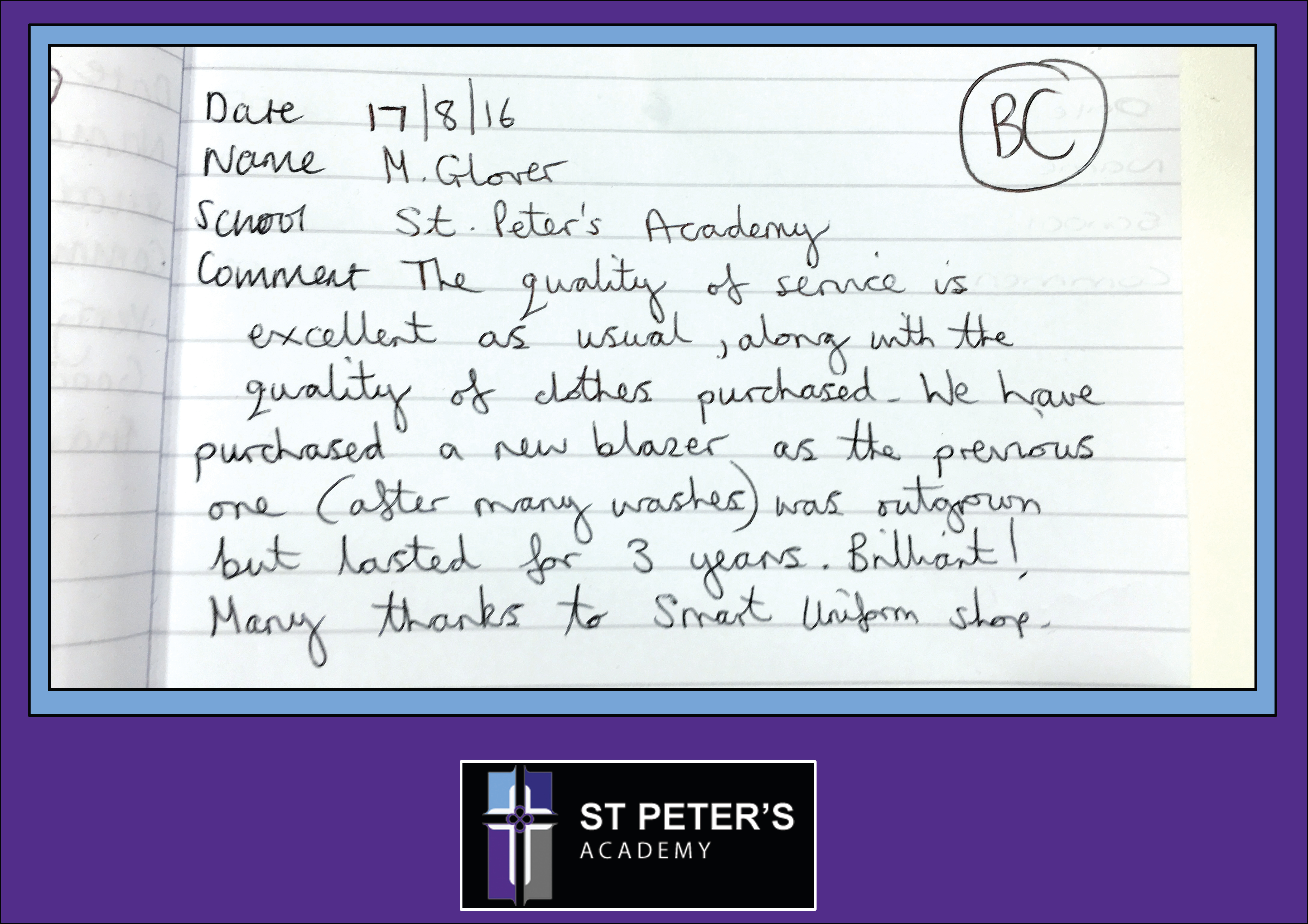 ST PETERS ACADEMY testimonial