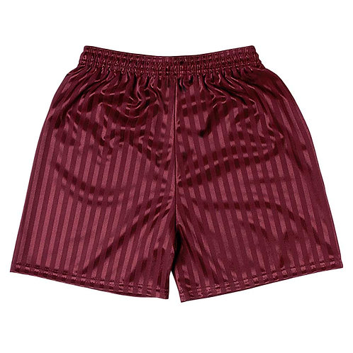 MAROON SHADOW STRIPE PE SHORTS