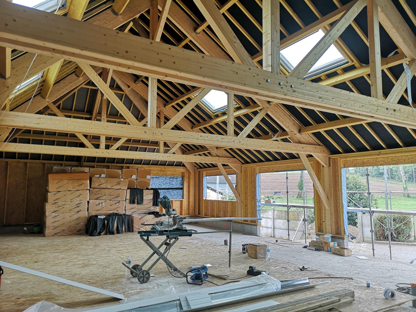 Maison, ossature bois, charpente, Lanouée, Morbihan