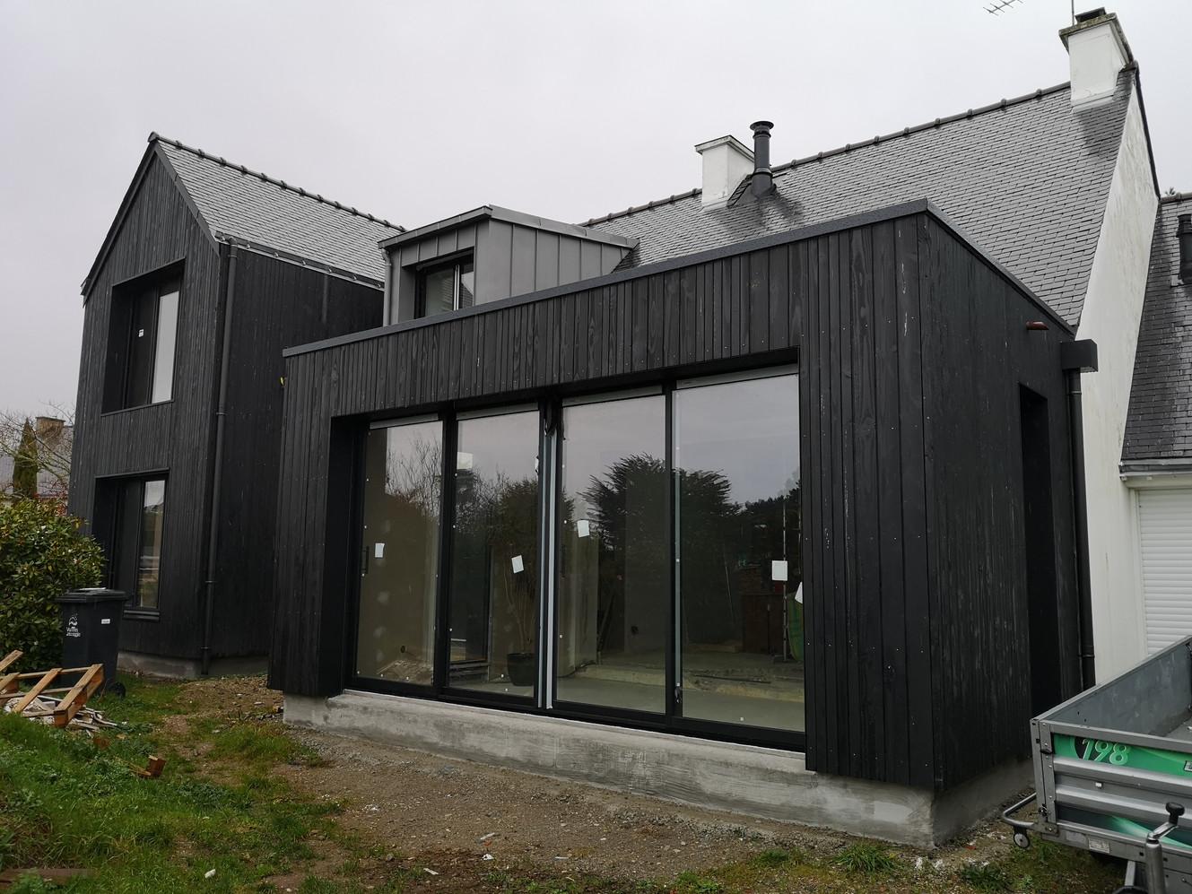 Extension, ossature bois, Séné, Morbihan