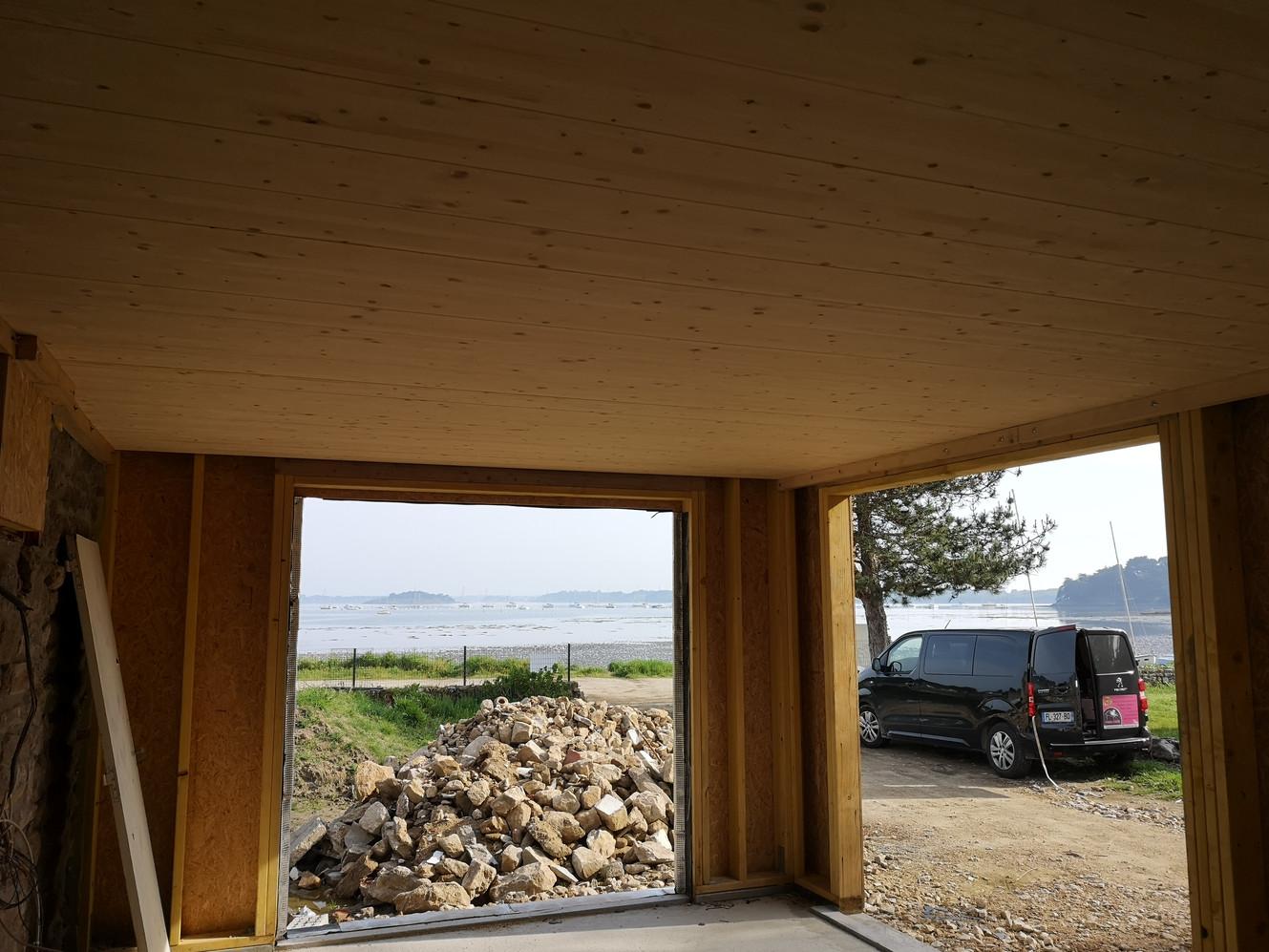 Extension, ossature bois, Arzon, Morbihan