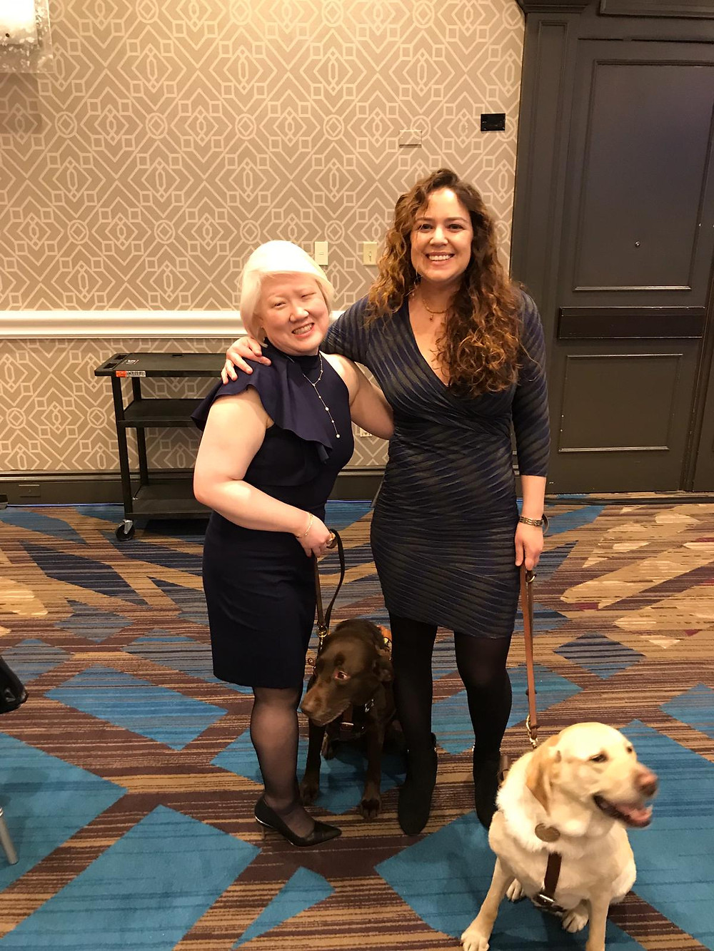 We had a great time at the American Foundation for the Blind's Helen Keller Achievement Award dinner before the start of the AFB conference. Kristin and Zoe are standing next to Dr. Stephanie Hurst DeLuca and Zoe's bestie, her chocolate lab Seeing Eye Dog Karra. Zoe looks very excited to be at the event!
