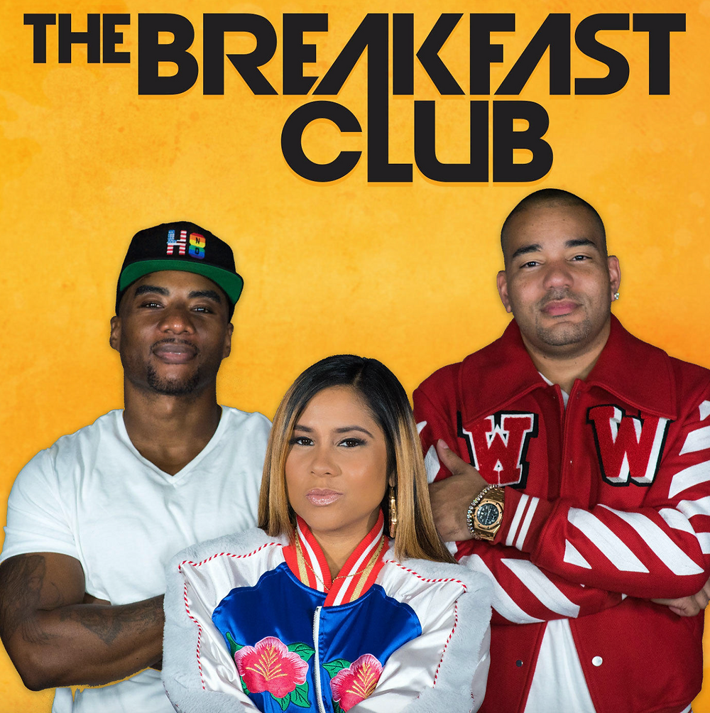 PD: Branding and logo for the Breakfast Club podcast. The 3 hosts of the breakfast club are standing together, arms crossed, not smiling, and looking directly into the camera.