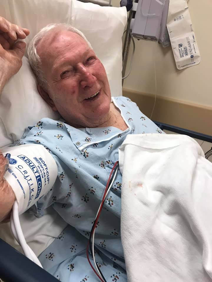 PD: Grandpa George Fleschner with a big smile on his face in the hospital bed.