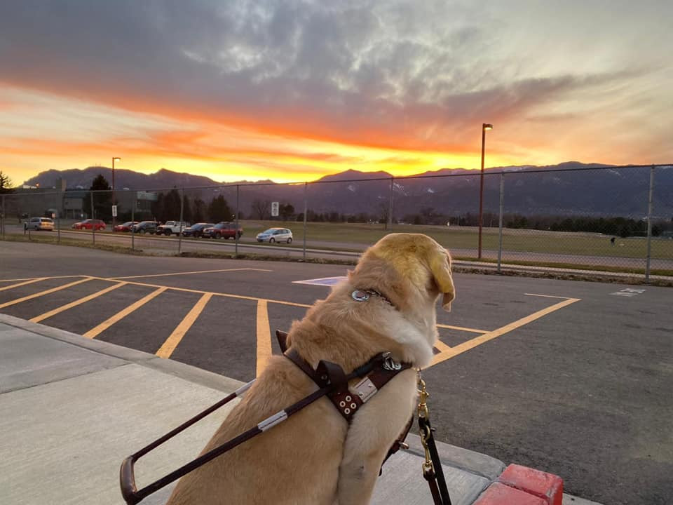 PD: Zoe watching the sunset before hitting the velodrome. She is facing the sky and mountains. The mountains look black with the sun setting over them. The sky is an array of colors starting with orange on the top of the mountain, then pink and purple which gets darker