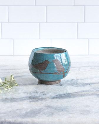8oz Bird Teacup (no handle), Teal