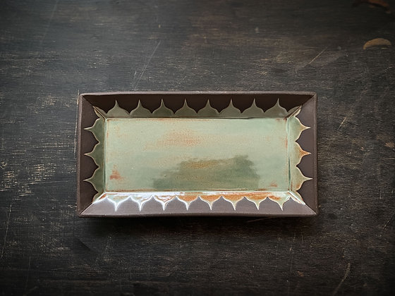 Med Serving Tray, Moroccan Pattern, Rust Green