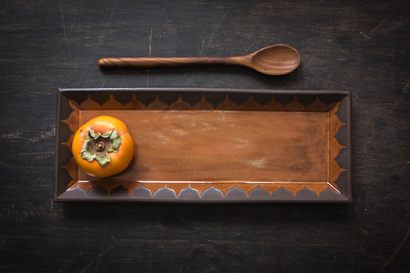 Lg Serving Tray, Moroccan Pattern, Curry