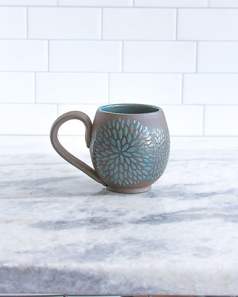 14oz Chrysanthemum Mug, Dark Teal Blue