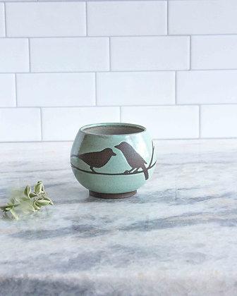 8oz Bird Teacup (no handle), Seafoam Green