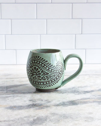 14oz Paisley Mug, Seafoam Green