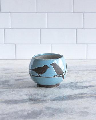 8oz Bird Teacup (no handle), Light Blue