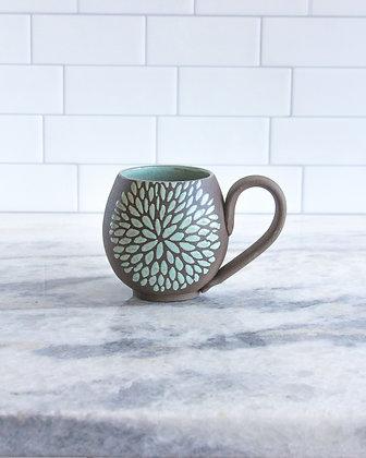 14oz Chrysanthemum Mug, Seafoam Green