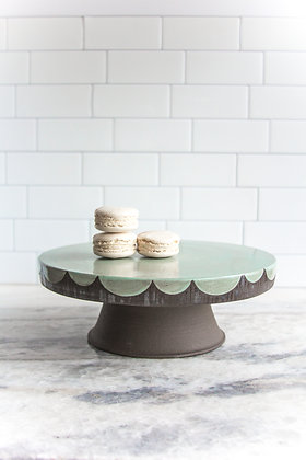 """10.5"""" Cakestand, Mint with Silver Stripes"""