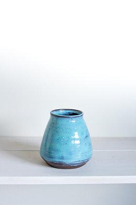 Fat vase, mottled blue