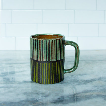 Rust Green and Olive Diner Mug, Striped (sold as singles)