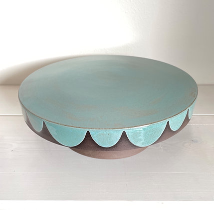 """10.5"""" Cakestand, Scallop, Speckled Turquoise"""