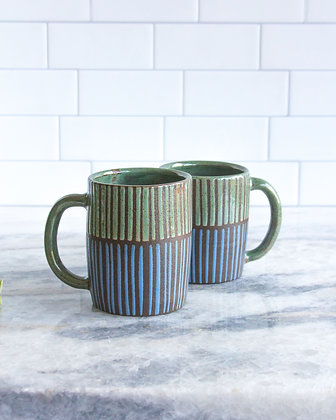 Rust Green and Periwinkle Mug, Striped (sold as singles)