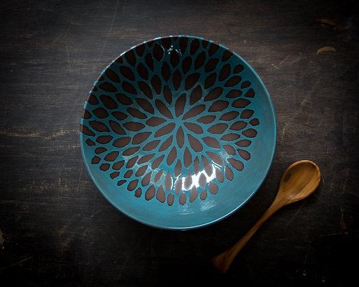 XL Chrysanthemum Serving Bowl, Teal/Turquoise Blue