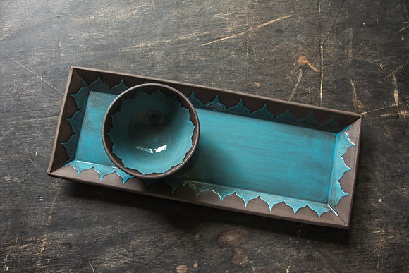 Lg Serving Tray, Moroccan Pattern, Teal Blue