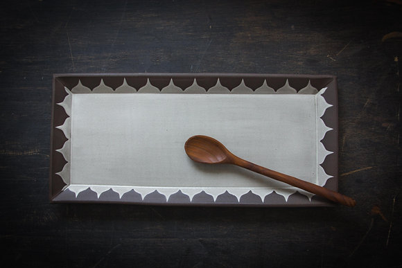 XL Serving Tray, Moroccan Pattern, Antique White
