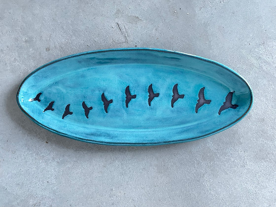 Oval Tray, Birds in Flight, Mottled Teal