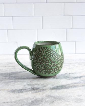 14oz Paisley Mug, Grass Green