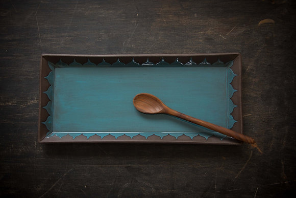 XL Serving Tray, Moroccan Pattern, Teal