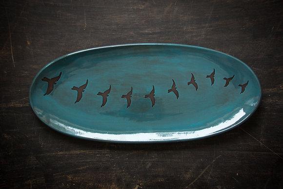 "XL 19"" Oval Tray, Birds in Flight, Teal"