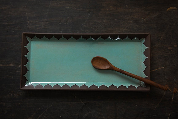 XL Serving Tray, Moroccan Pattern, Speckled Turquoise