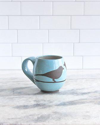 14oz Bird Mug, Light Blue