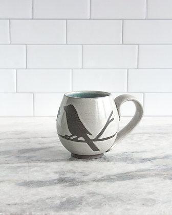 14oz Bird Mug, Antique White, lt blue interior