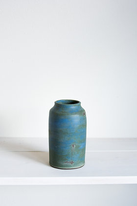 Jar Vase, New Denim Blue Matte