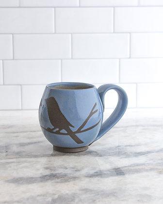 14oz Bird Mug, Periwinkle Blue