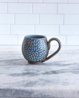 14oz Chrysanthemum Mug, Periwinkle Blue