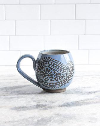 14oz Paisley Mug, Periwinkle