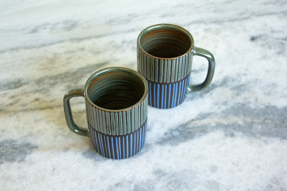 Rust Green and Periwinkle Diner Mug, Striped (sold as singles)