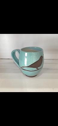 14oz Bird Mug, Speckled Turquoise