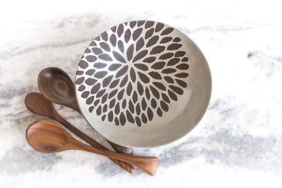 "Chrysanthemum Serving Bowl, 12"" wide, Antique White"