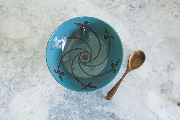 Pinwheel Serving Bowl, Teal/Turquoise Blue