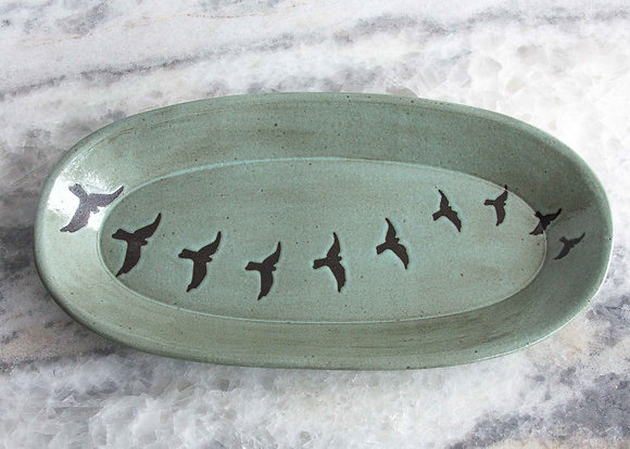 "11.5"" Oval Bird Tray, Seafoam Green"