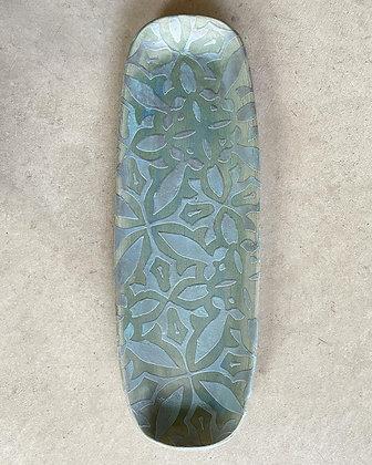Long Textured Tray, blue velvet