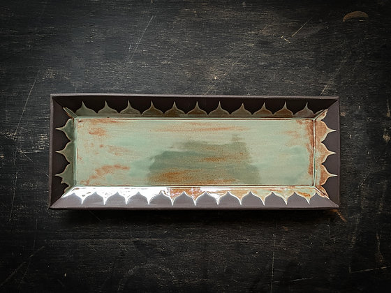 Lg Serving Tray, Moroccan Pattern, Rust Green