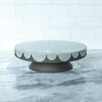 """9.5"""" Cakestand, Scallop, Antique White"""