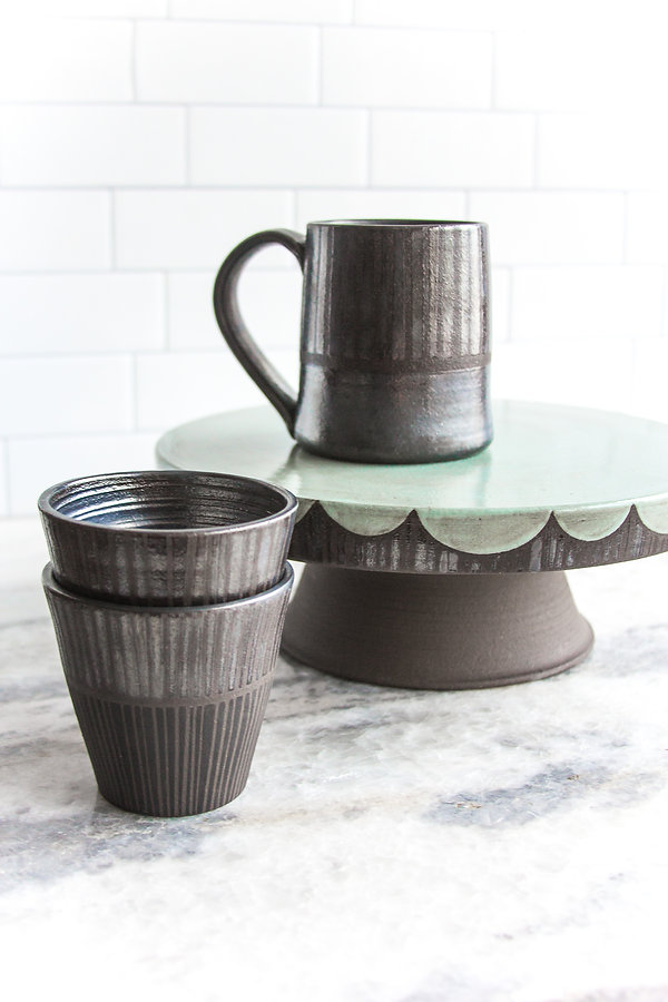 Silver and Seafoam Cakestand and Cups